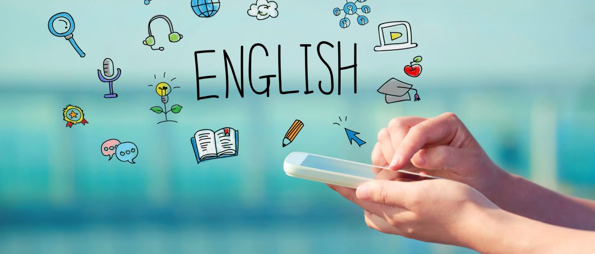 English concept with person holding a smartphone